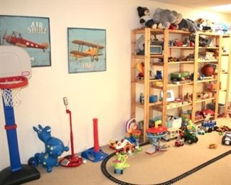 Loads Of Toys: Tonka Turbo Diesel, Radio Flyer Wagon, Assorted Toddler Rocking Toys, Little Tikes Car
