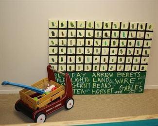 Wagon and Chalk Board