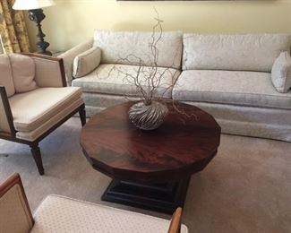 Sofa,matching armchairs and round table.