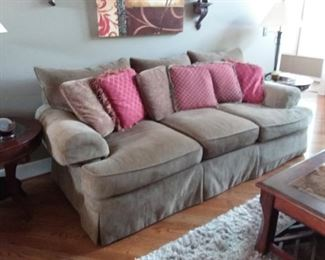 Thomasville Sofa in neutral color, area rug, coffee/end tables, lamps, wall deco and more