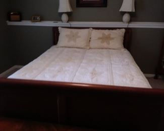 Queen Sleigh bed and mattress with box springs