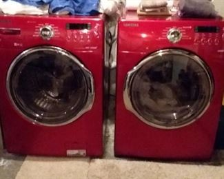 Samsung red VRT Steam washer and dryer.