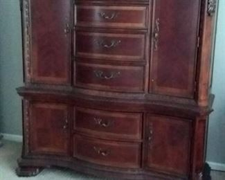 Matching A.R.T. Furniture 6 drawer dresser combined with 4 door armoire, chest of drawers and 2 night stands - Excellent condition.