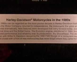 Framed Harley Davidson Die Cast motorcycles of the 1980's.