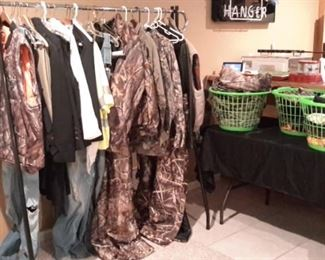 Camo and other hunting wear...jackets, overalls, gloves, etc...
