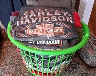 Two baskets full of Harley-Davidson, Sturgis, etc., t-shirts, size L to XL.