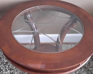 Two beautiful end tables with beveled glass.