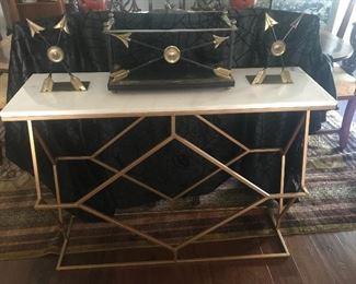 MID-CENTURY MODERN STYLE SOFA TABLE - MARBLE TOP