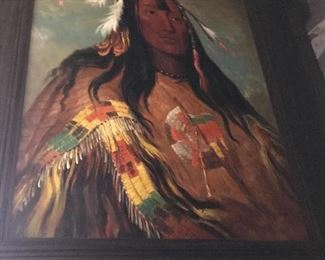 Very Large oil on canvas of Indian Chief