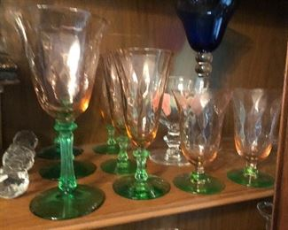 Watermelon pink and green Depression glass stemware by Tiffin.