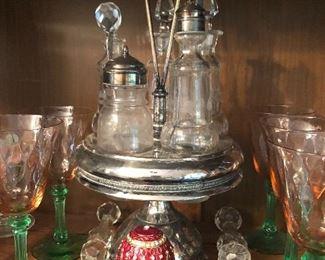 Antique castor set, glass knife rests
