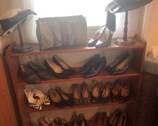Designer shoes including Fendi, Ferragamo, Gucci, and more. Vintage hats. Gucci purse.