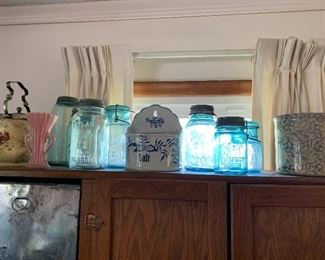 Glass canning jars, enamel hanging salt, crock