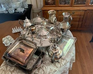 Sterling and silver plate serving pieces