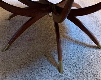 Mid Century Brass coffee table with wooden stand.