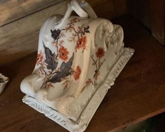 Antique porcelain cheese keeper