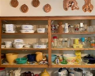 Vintage kitchen. Corning Ware , fiesta ware,Hull, Hall,  McCoy, spice grinders, bottles and much more.  Complete your vintage kitchen look before the holidays.  Large collection of baking pans including vintage Pyrex pie glass