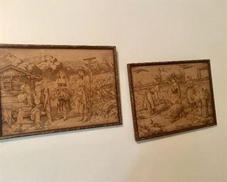 Pair framed tapestries