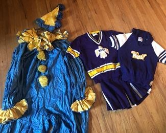 Vintage clown costume and cheerleader sweaters for Halloween