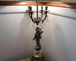 Pair cherub lamps with glass prisms