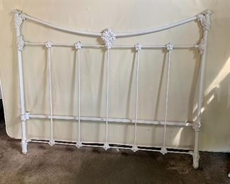 White cast iron bed, full size mattress and springs