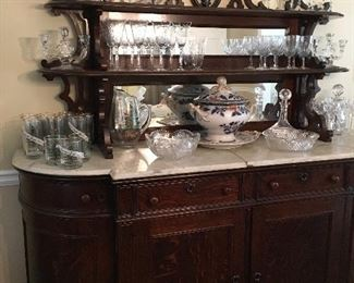 Oak buffet from the home of Howell Cobb, Waterford crystal, Early English soup tureen