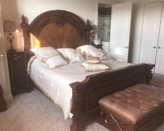 Henredon King Headboard with foot board and side rails (mattress and bedding separate) $1975