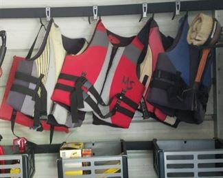 life jackets. Bins not for sale but items in bins are.