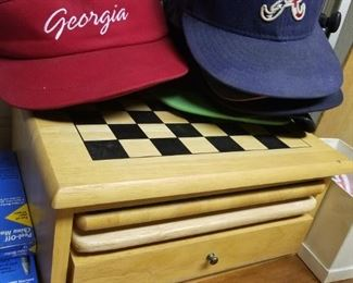 Variety of hats and visors, wood multi-game set