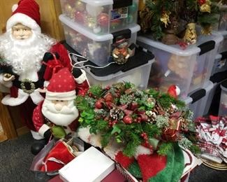 Christmas Decor. Items in plastic bins must be placed in cardboard boxes we have on hand for you. Owner wishes to keep the plastic bins.