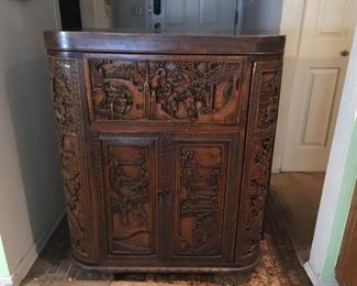 Vintage Impressive Carved Wood Bar with Many Interesting Features. Lot Number: 1