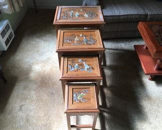 "Nesting Tables, Vintage Hand Painted with Inlaid Jade/Stone. Set of 4, Largest is 20"" x 15"" x 24""h Lot Number: 4"