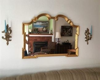 "Heavy Wall Mirror 42"" x 32"" x 2"", Candle Sticks. Lot Number: 7"
