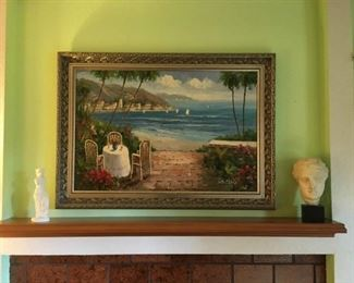 Riviera Oil Painting Nicely Framed by Aaron Bros. Ceramic Statues. Lot Number: 12