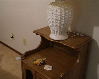 end or night stand, white lamp