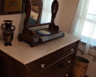 marble top bureau, mirror shelf