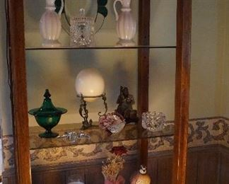glass shelf open display cabinet, vases, candy dishes, decor