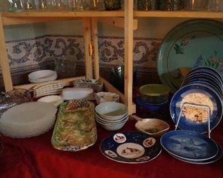 decorative plates, serving pieces, bowls, tray