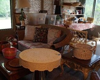 wicker loveseat, coffee table, side tables,