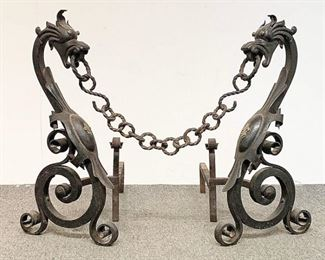 A small sampling of items in our exciting Estate Antiques Auction, August 16th, starting at 3PM!  |  Lot 62: A pair of large iron and brass dragon form andirons connected by a chain, in the style of Samuel Yellin. 27 in tall x 13 in wide x 29 in deep.