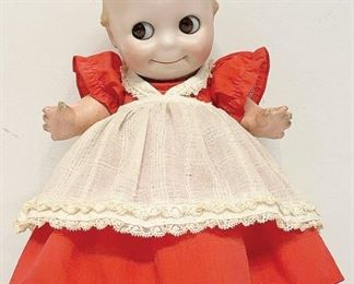A small sampling of items in our exciting Estate Antiques Auction, August 16th, starting at 3PM!  |  Lot 268: A rare Ges. Gesch O'Neill J.D.K. 12 in. bisque head kewpie doll with painted features and jointed composition body, wearing a red dress.