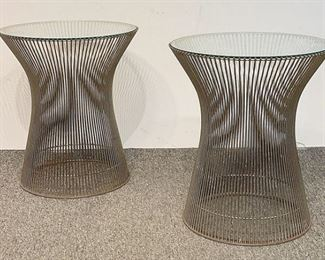 A small sampling of items in our exciting Estate Antiques Auction, August 16th, starting at 3PM!  |  Lot 92: A pair of Warren Platner wire and glass-top side tables. Unmarked. 18 in tall x 16 in diameter.