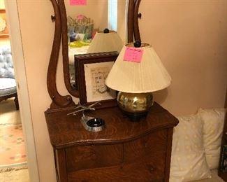 Antique serpentine front oak dresser with mirror in pristine condition!