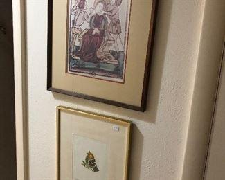Lots of interesting mid century framed art!