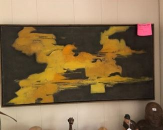 Very cool 1960's abstract framed oil