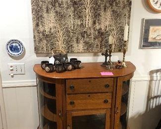 Antique oak curved console cabinet