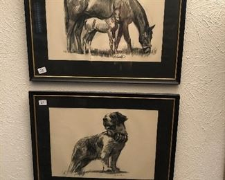 Cool vintage framed charcoal drawings