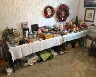 Holiday decor, vintage items, linens