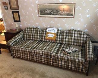 Cool plaid retro 70's sofa sleeper