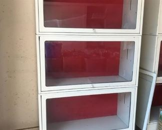 Two matching metal lawyers bookcases.
